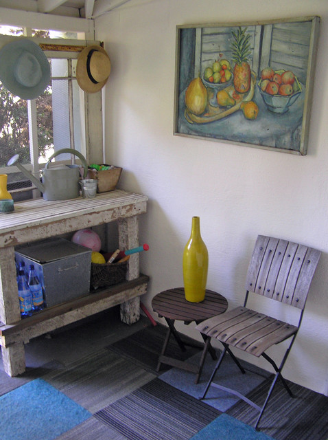 Potting Benches Porch Shabby Chic with Art Cafe Chair Carpet Tile Gardening Bench Hat Rack