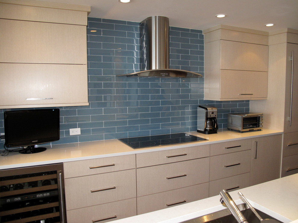 Prefab Cabinets Kitchen Contemporary with Blue Tiles Kitchen Cabinets Kitchen Countertops Range