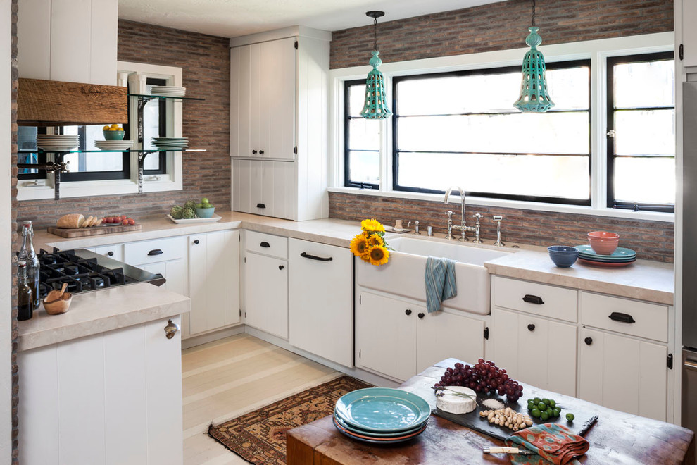 Prefab Cabinets Kitchen Eclectic with Apron Sink Beige Counter Black Cabinet Hardware