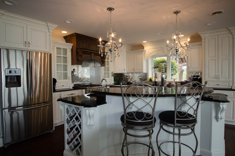 Prefab Cabinets Kitchen Traditional with Brown Antique Granite Granite Hardwood Flooring Stainless