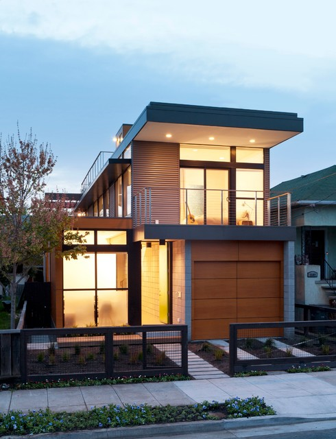 Prefab Garages Exterior Contemporary with Balcony Concrete Fence Flat Roof Front Door Front Entrance