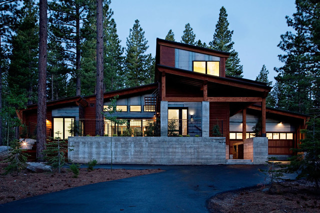 Prefab Garages Exterior Contemporary with Concrete Column Concrete Wall Corner Window Driveway Exposed Beams