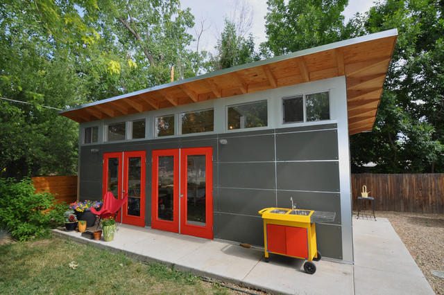 Prefab Garages Garage and Shed Contemporary with Art Studio Clerestory Windows Concrete Patio Garage Gray And