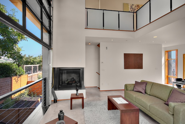 Prefab Garages Living Room Contemporary with Area Rug Balcony Cable Railing Corner Fireplace Garage Door