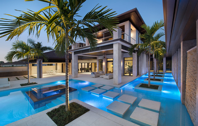 Prefab Homes Florida Pool Tropical with Cable Railing Concrete Pool Deck Covered Patio Cutom Home