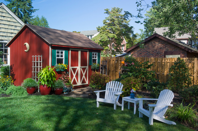 Prefab Shed Landscape Traditional With Adirondack Chair Backyard Lawn Outdoor Furniture Red Barn