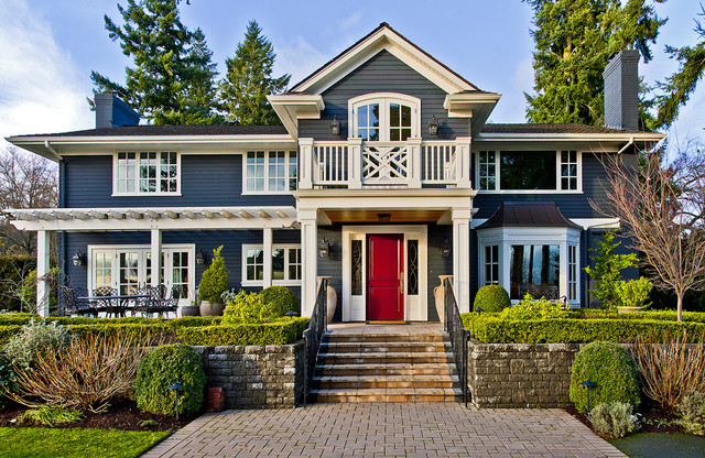 Prehung Exterior Doors Exterior Traditional with Balcony Bay Window Brick Paving Chippendale Railing Covered Patio