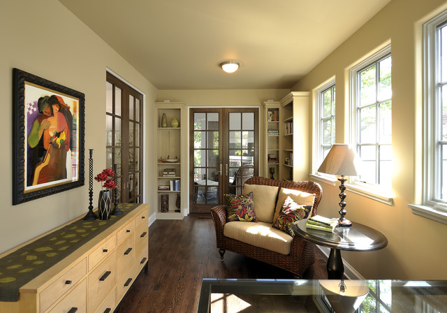 Prehung Interior French Doors Home Office  Traditional With Artwork Beige Built In Book Shelves CEILING LIGHT French