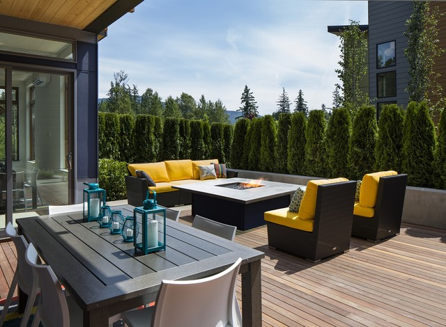 propane fire pit table Deck Contemporary with contemporary wicker furniture outdoor eating area outdoor fire pit