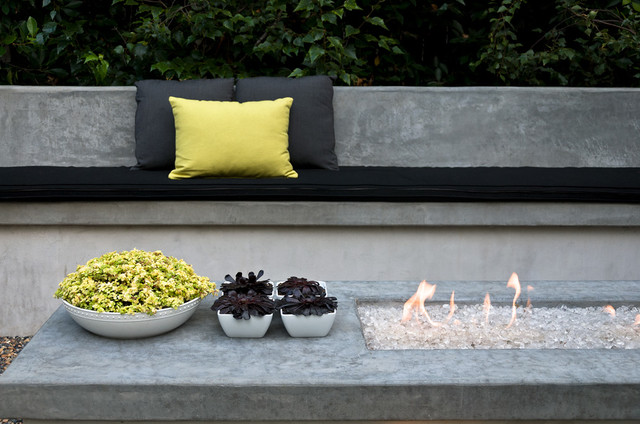 Propane Fire Pit Table Landscape Contemporary with Black Cushions Black Foliage Built in Bench Chartreuse Concrete Bench