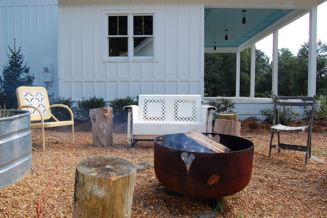 Propane Fire Pit Table Patio Shabby Chic with Board and Batten Siding Container Container Gardening Covered Porch