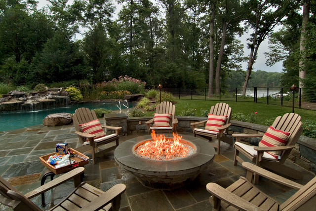 Propane Fire Pit Table Patio Traditional with Adirondack Chair Cable Fence Cable Railing Fire Pit Grass