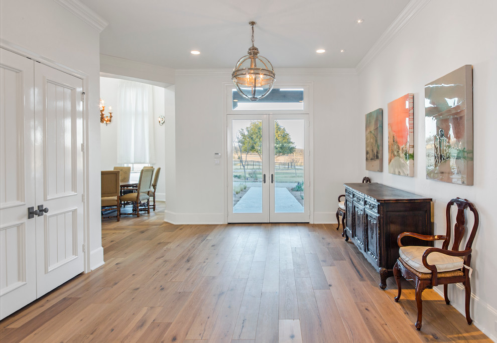 provenza flooring Entry Contemporary with antique credenza artwork bright carved wood chandelier