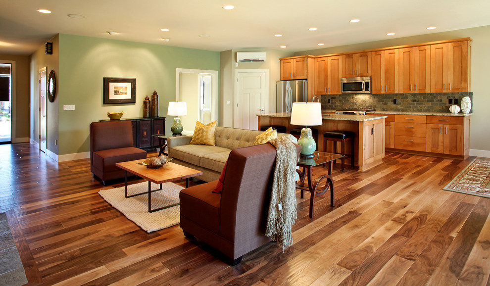 Provenza Flooring Family Room Contemporary with Acacia Wood Floor Beige Sofa Ceiling Lighting1