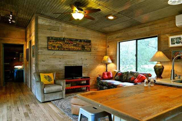 Punched Tin Panels Family Room Rustic With Area Rug Cabin Ceiling Fan Corrugated Metal Counter Stools