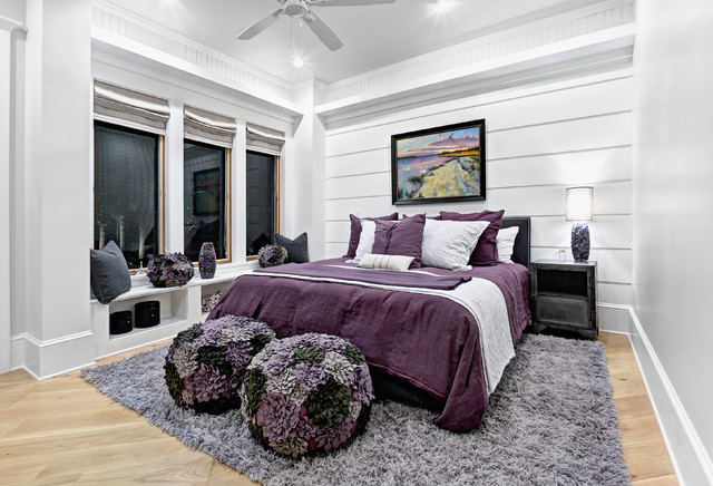 Purple Shag Rug Bedroom Beach with Built in Window Seat Ceiling Detail Ceiling Fan Gray Bedding