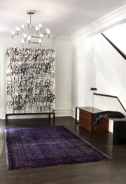 Purple Shag Rug Entry Contemporary with Area Rug Art Bench Black and White Cabinet Cabinetry