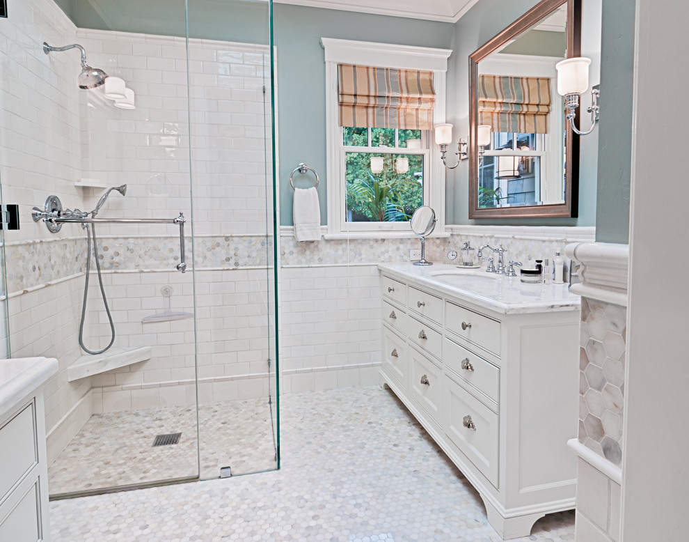 Quarry Tile Bathroom Traditional with Curbless Shower Freestanding Vanity Glass Shower Doors