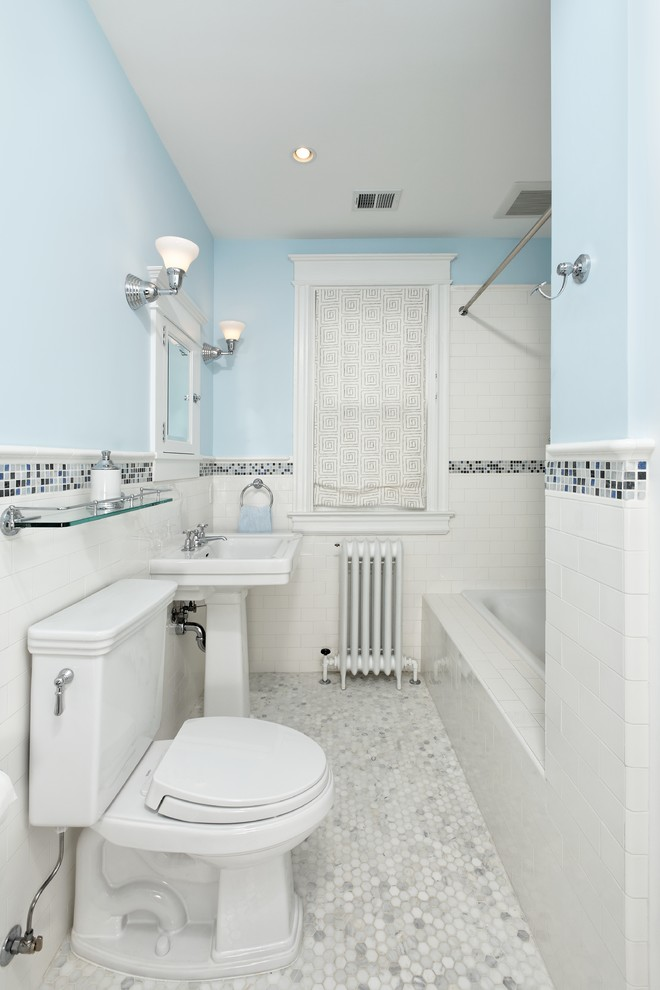 Quarry Tile Bathroom Traditional with Grey Tile Mosaic Penny Tile Subway Tile