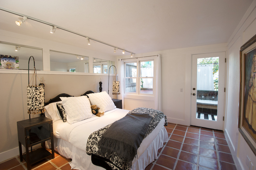 Quarry Tile Bedroom Eclectic with Bedside Table Ceiling Lighting Clerestory Interior Windows