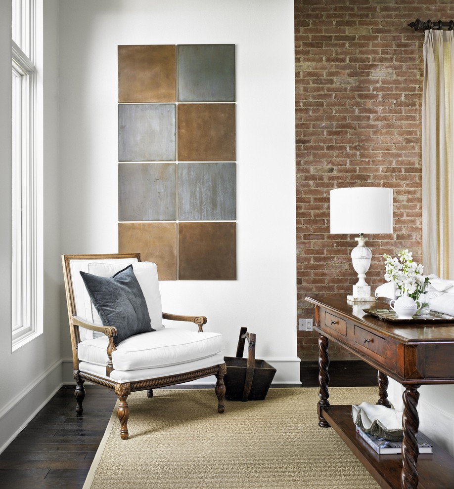 Quarry Tile Living Room Traditional with Armchair Brick Wall Console Table Exposed Brick