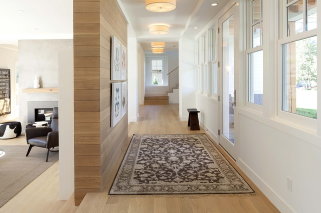 quarter sawn white oak Hall Contemporary with area rug ceiling lighting gallery wall horizontal slat fence