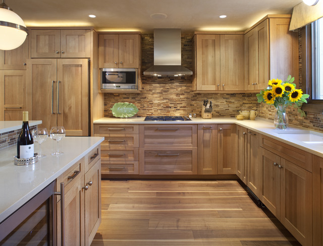 Quarter Sawn White Oak Kitchen Contemporary With Beverge Cooler Custom Wood  Cabinets Glove Ceiling Lamp Hood
