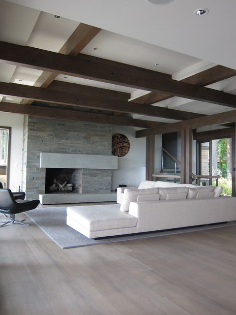 Quarter Sawn White Oak Living Room Contemporary with Concrete Concrete Mantel Fireplace Grey Rug Leather Chair Rug