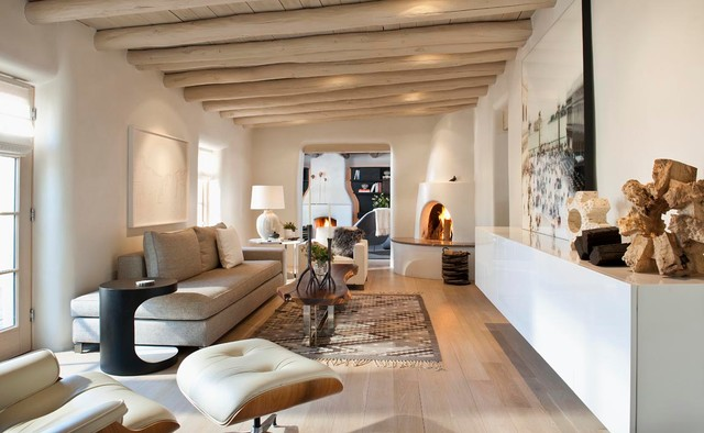 Quarter Sawn White Oak Living Room Southwestern with Adobe Beams Contemporary Eames Lounge Chair Floating Media Cabinet