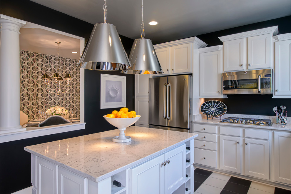 quartz countertops prices Kitchen Contemporary with black and white checkered floor black wall