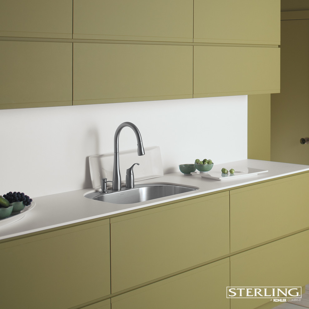 Quartzite Countertops Kitchen Contemporary with Sleek Kitchen Yellow and White Yellow Cabinets
