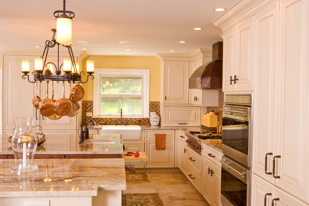 Quartzite Countertops Kitchen Traditional with Ceiling Lighting Chandelier Copper Cookware Double Islands