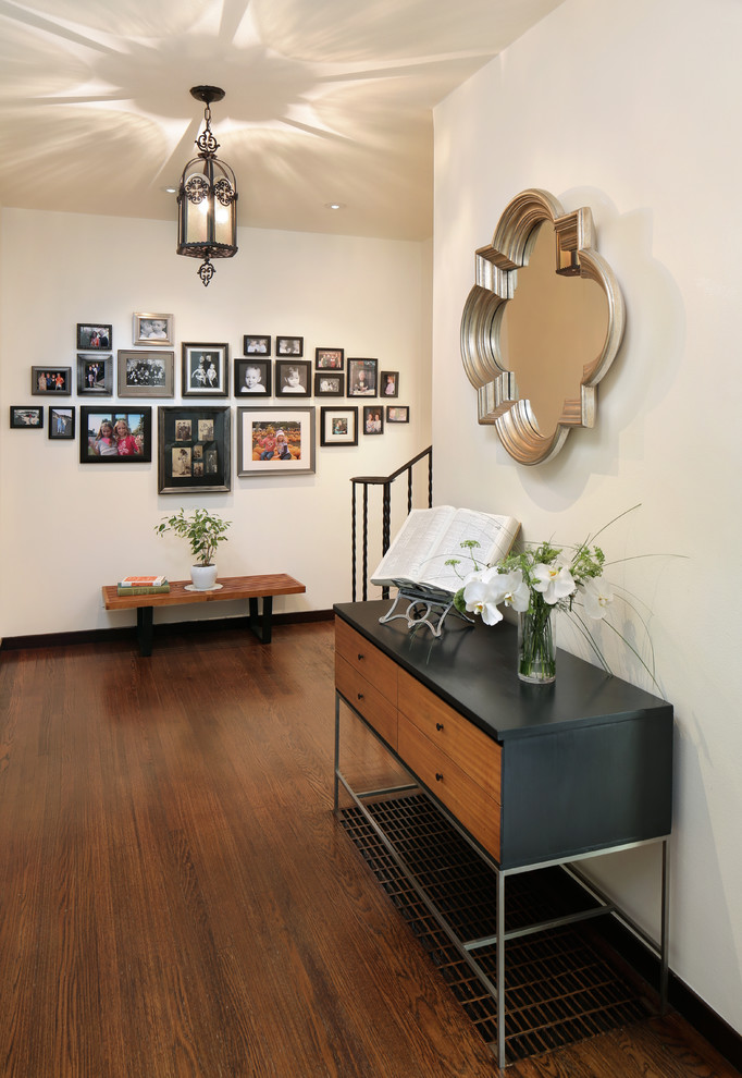 Quatrefoil Mirror Entry Midcentury with 50s Black Birch Console Table Fifties George