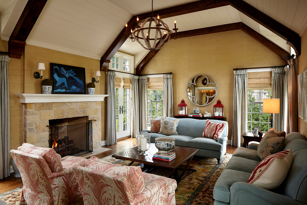 Quatrefoil Mirror Living Room Traditional with Abstract Art Beams Drapes Exposed Beams Fireplace