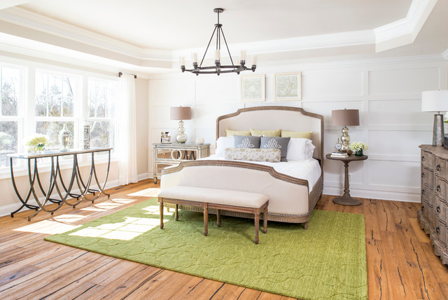 Quatrefoil Rug Bedroom Traditional with Bed Bedroom Bench Chandelier Console Table Dresser Green Area