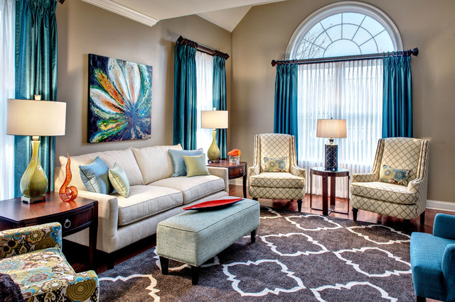 Quatrefoil Rug Living Room Transitional with Blue and Green Room Blue Curtains Cherry Wood Accent
