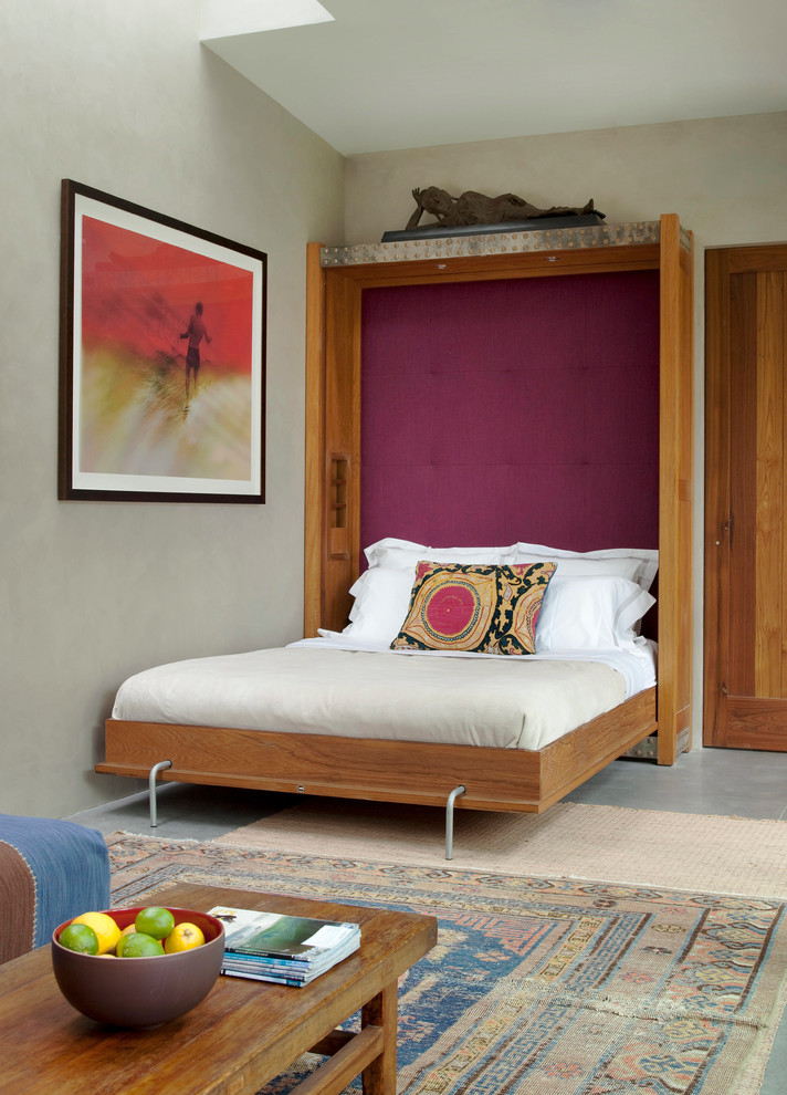 Queen Size Murphy Bed Bedroom Eclectic with Embroidered Rug Framed Artwork Magenta Murphy Bed