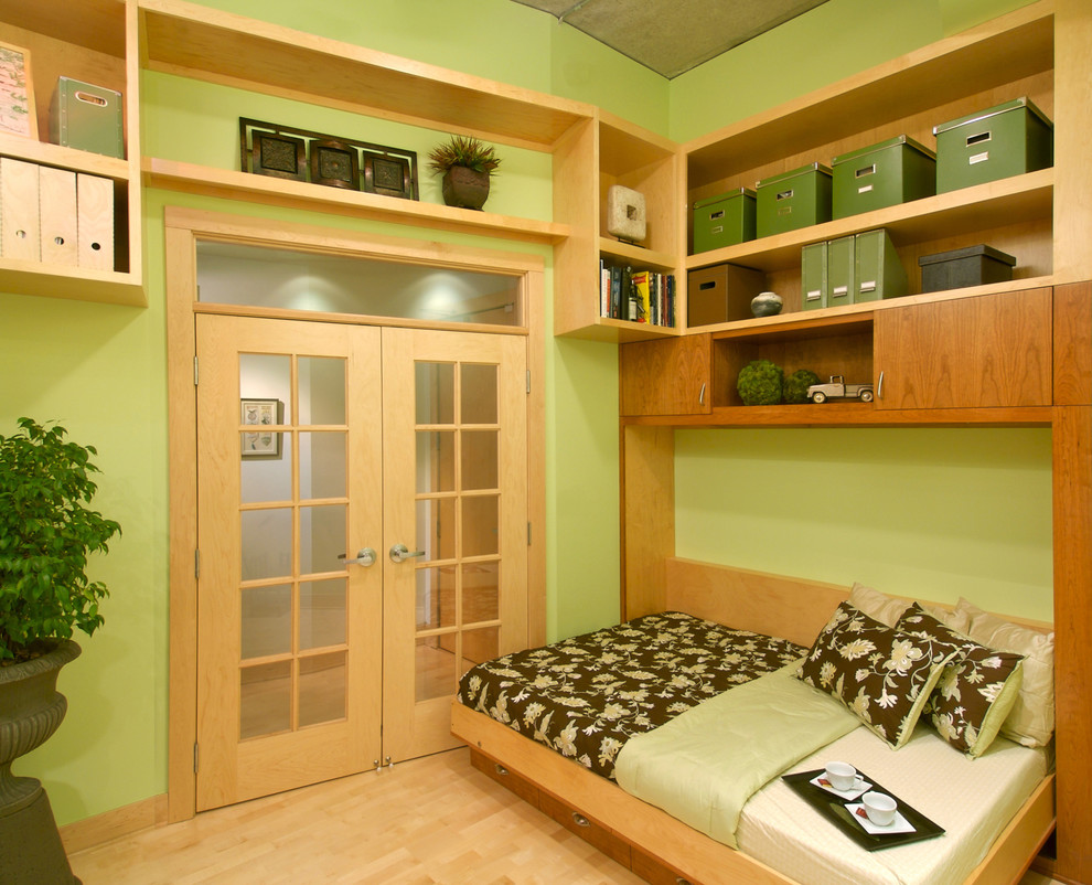 Queen Size Murphy Bed Home Office Contemporary with Built in Bookcase Custom Woodwork Fold Down