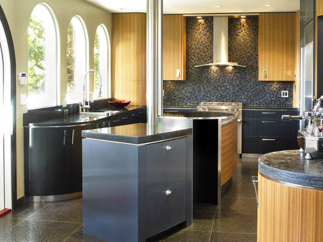 Quickbooks Support Phone Number Kitchen Contemporary with Arched Windows Ceiling Lighting Curved Island Dark Floor Floor