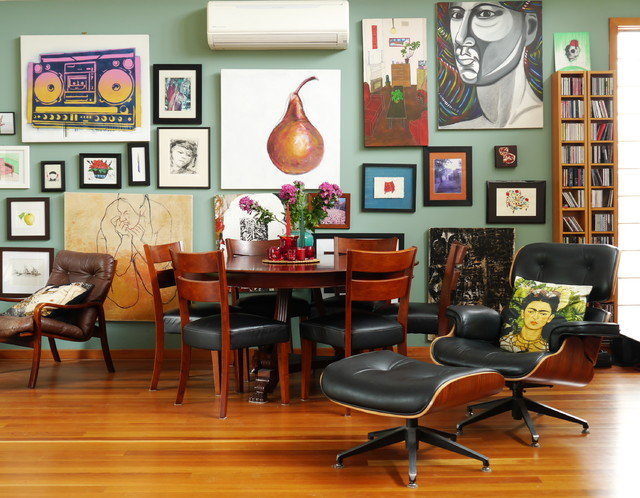 quiet portable air conditioner Dining Room Eclectic with Art art wall brick interior wall eames chair Eames