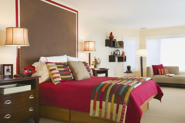quilt sets queen Bedroom Eclectic with Bedroom brown carpet carpeting dark stained wood floating shelves