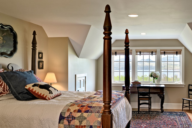Quilted Pillow Shams Bedroom Farmhouse with Beige Wall Dark Wood Bed Dark Wood Chair Dark