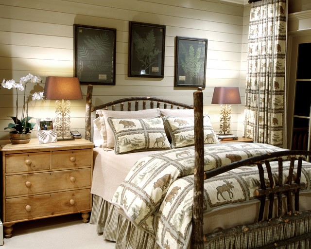 Quilted Pillow Shams Bedroom Rustic with Beadboard Bed Curtain Fabric Log Cabin Mountain Home Rustic