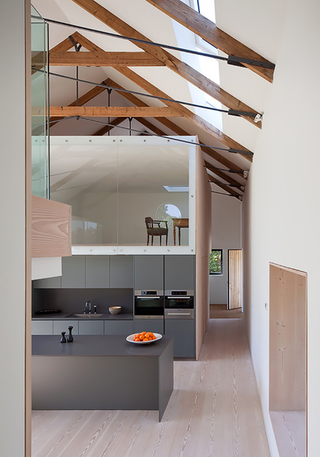 Quonset Building Kitchen Contemporary with Exposed Beams Gray Worktop Grey Kitchen Grey Kitchens Loft