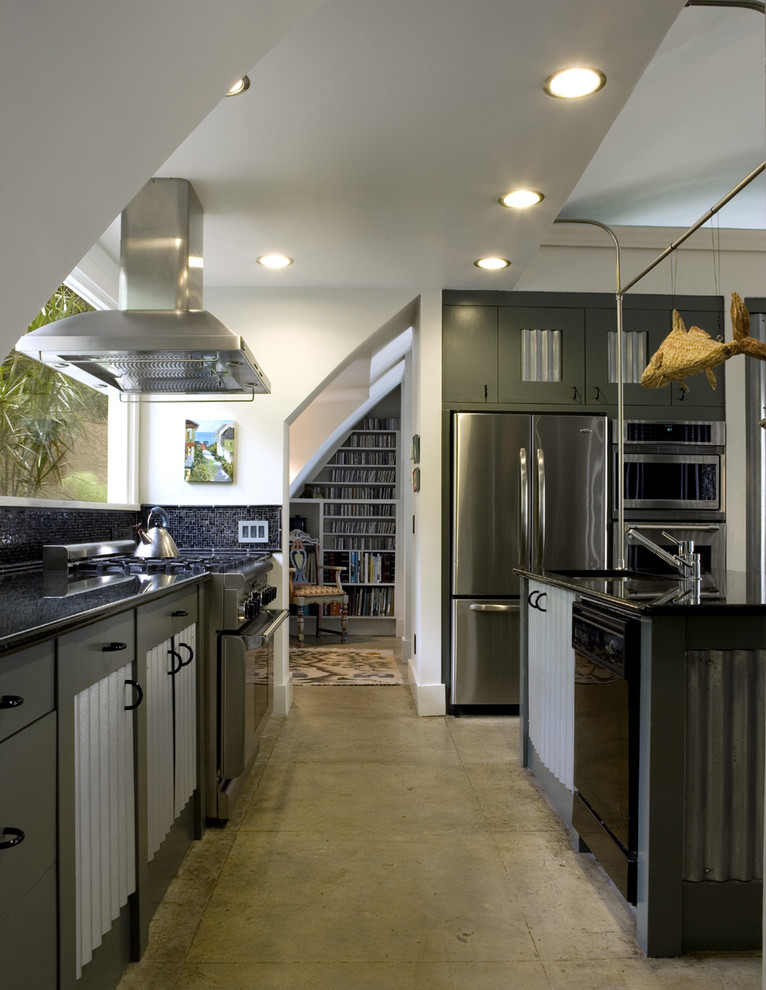 Quonset Hut Homes Kitchen Industrial with Black Countertop Ceiling Mounted Hood Contemporary Kitchen