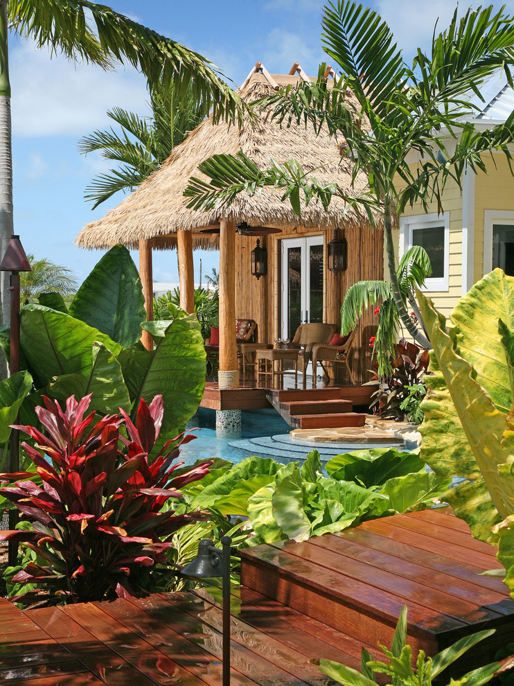 Quonset Hut Homes Patio Tropical With Bamboo  Columns Covered Porch Garden Grass Roof