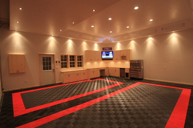 Racedeck Garage And Shed Contemporary With Diy Floor Tile Flooring Garage1