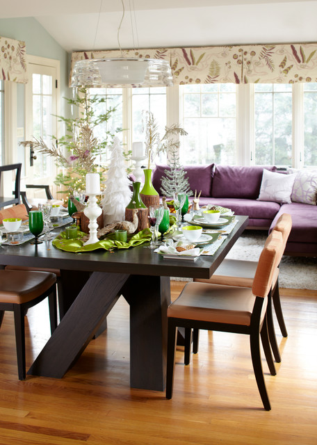 Rachael Ray Bakeware Dining Room Transitional with Beige Dining Chair Christmas Decorations Dark Wood Dining Table