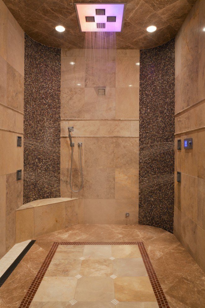 Rain Shower Head with Handheld Bathroom Traditional with Beige Tile Brown Mosaic Tile Fireplace Mantels