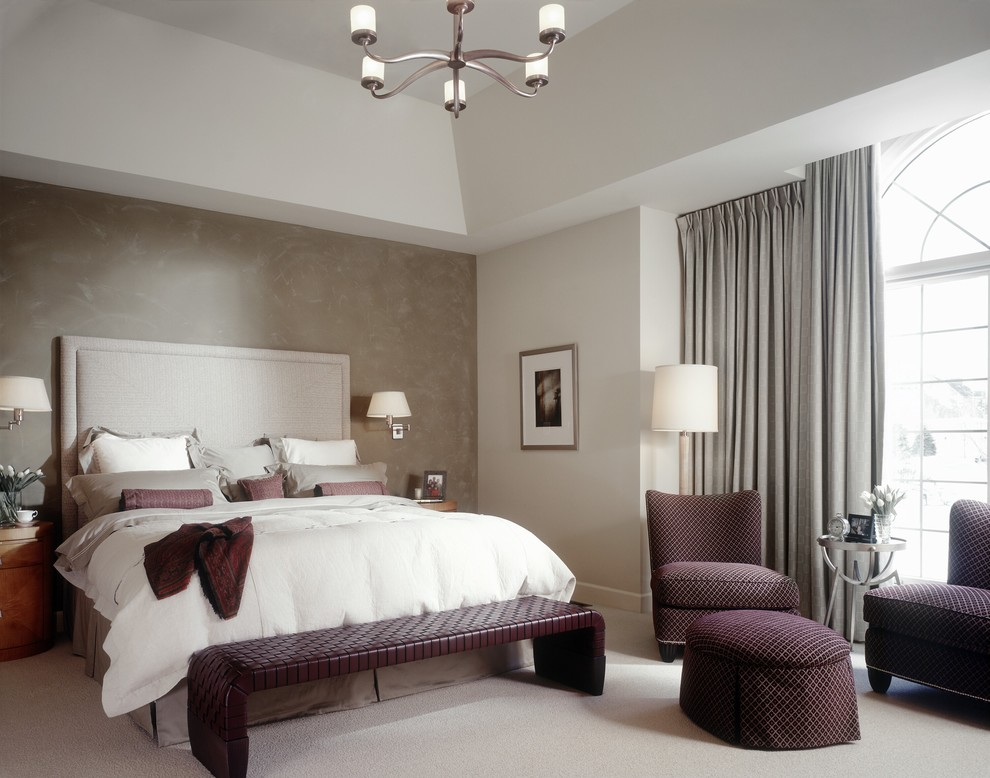 Ralph Lauren Suede Paint Bedroom Transitional with Accent Wall Chandelier Curtains Drapes Faux Finish